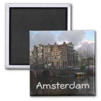 Canals in Amsterdam Square Magnet