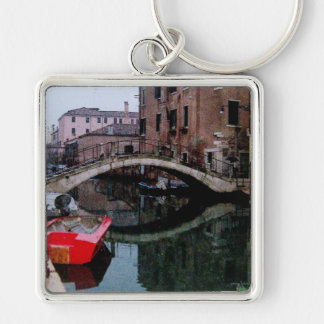 Canals of Venice II Silver-Colored Square Key Ring