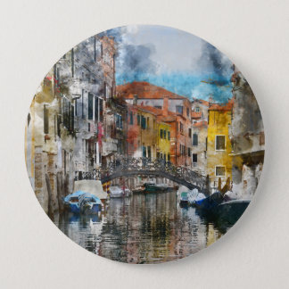 Canals of Venice Italy Watercolor 10 Cm Round Badge