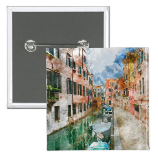 Canals of Venice Italy Watercolor 15 Cm Square Badge