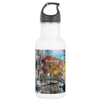 Canals of Venice Italy Watercolor 532 Ml Water Bottle