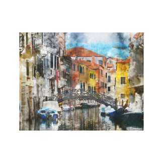 Canals of Venice Italy Watercolor Canvas Print