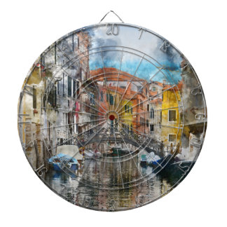 Canals of Venice Italy Watercolor Dartboard