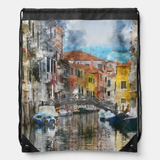 Canals of Venice Italy Watercolor Drawstring Bag