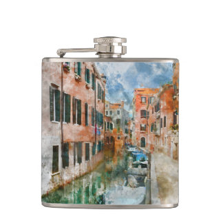Canals of Venice Italy Watercolor Flasks