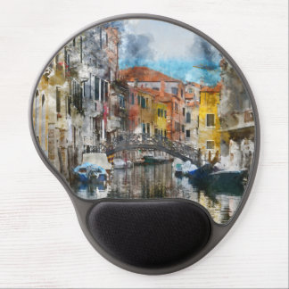 Canals of Venice Italy Watercolor Gel Mouse Pad