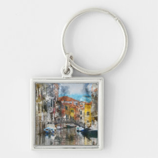 Canals of Venice Italy Watercolor Key Ring