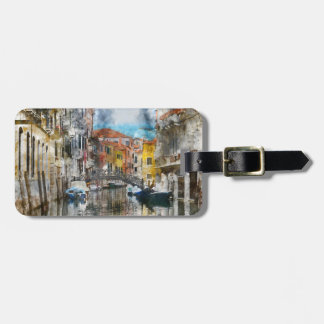 Canals of Venice Italy Watercolor Luggage Tag