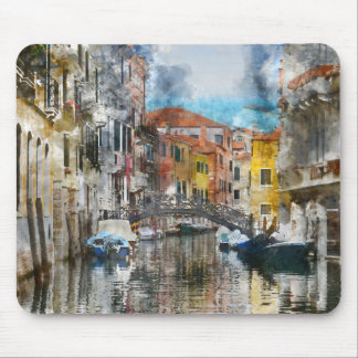 Canals of Venice Italy Watercolor Mouse Pad