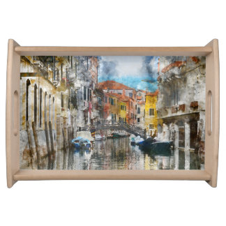 Canals of Venice Italy Watercolor Serving Tray