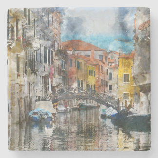 Canals of Venice Italy Watercolor Stone Coaster