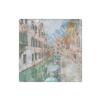 Canals of Venice Italy Watercolor Stone Magnet