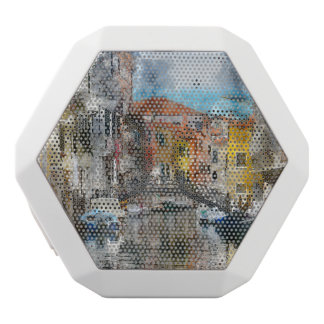 Canals of Venice Italy Watercolor White Bluetooth Speaker