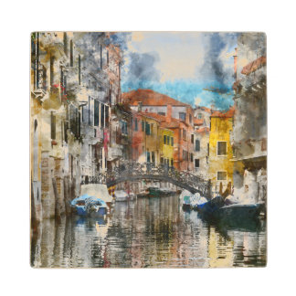 Canals of Venice Italy Watercolor Wood Coaster