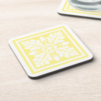 Canary Acorn and Leaf Tile Design Coaster