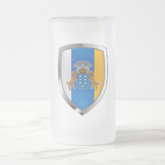 Canary Islands Mettalic Emblem Frosted Glass Beer Mug