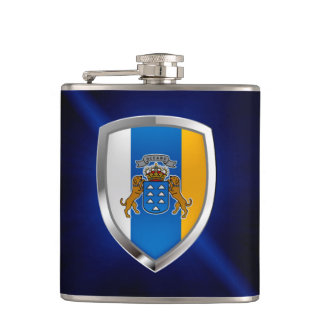 Canary Islands Mettalic Emblem Hip Flask