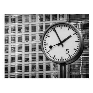 Canary Wharf clock Postcard