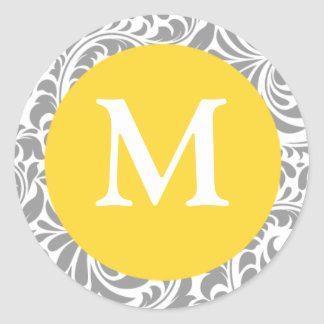 Canary Yellow And Gray Wedding Monogram M Stickers