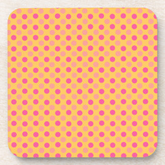 Canary Yellow And Pink Polka Dots Pattern Drink Coaster