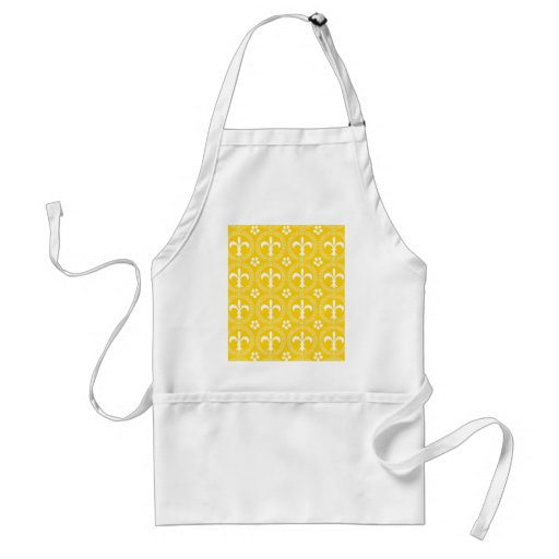 Canary Yellow And White Fleur De Lis Pattern Aprons