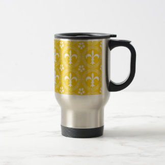 Canary Yellow And White Fleur De Lis Pattern Mugs