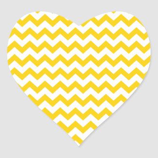 Canary Yellow And White Zigzag Chevron Pattern Heart Sticker