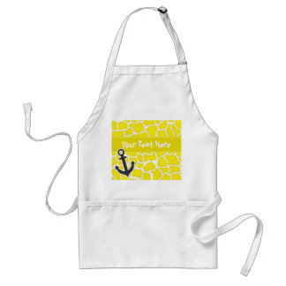 Canary Yellow Giraffe Animal Print; Anchor Adult Apron