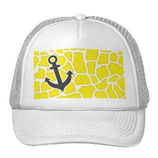 Canary Yellow Giraffe Animal Print; Anchor Trucker Hat