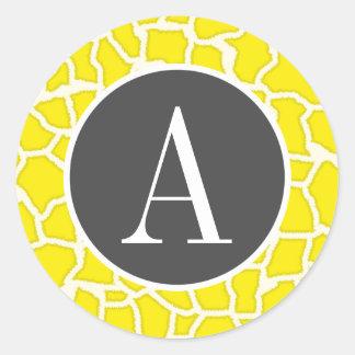 Canary Yellow Giraffe Animal Print Round Stickers