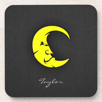 Canary Yellow Moon Beverage Coasters