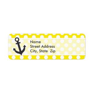 Canary Yellow Polka Dots; Anchor Return Address Label