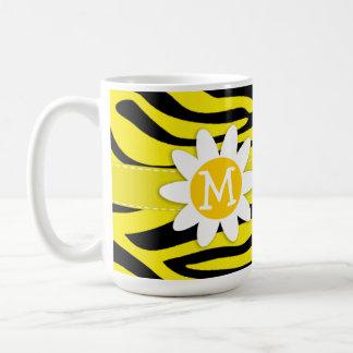 Canary Yellow Zebra Print; Daisy Basic White Mug