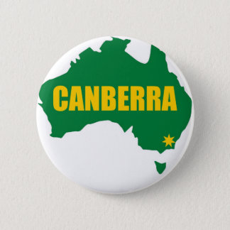 Canberra Green and Gold Map 6 Cm Round Badge