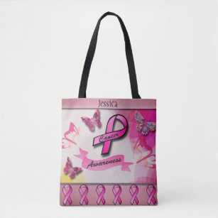 Cancer Awareness Colourful Butterflies & Ribbons Tote Bag