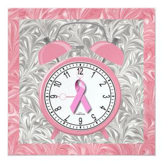 Cancer Awareness - Pink Ribbon 13 Cm X 13 Cm Square Invitation Card