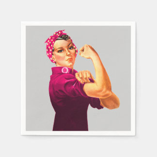 Cancer Awareness Rosie The Riveter Disposable Napkin