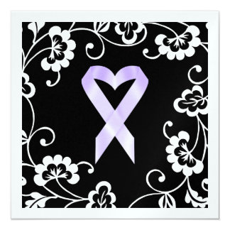 Cancer Awareness - White Ribbon 13 Cm X 13 Cm Square Invitation Card