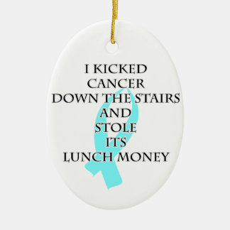 Cancer Bully (Light Blue Ribbon) Ceramic Oval Decoration