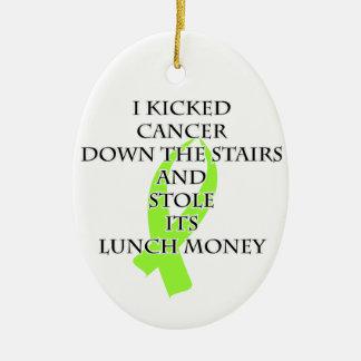 Cancer Bully (Lime Green Ribbon) Ceramic Ornament