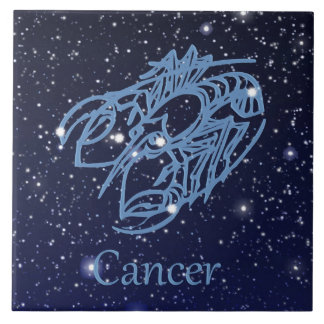 Cancer Constellation and Zodiac Sign with Stars Ceramic Tile