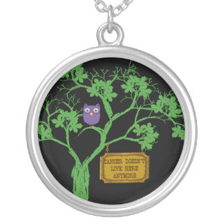 Cancer Doesn't Live Here Tree Owl Silver Plated Necklace
