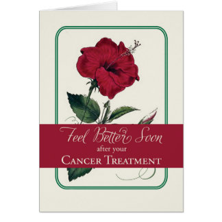 Cancer Feel Better, Red Hibiscus Flower, Religious Card