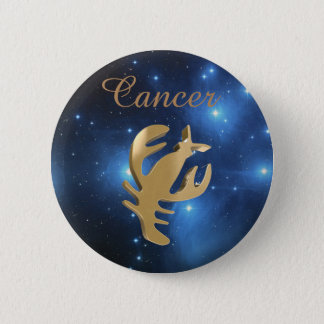 Cancer golden sign 6 cm round badge