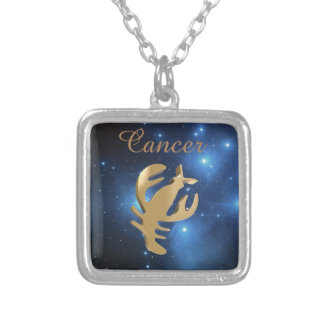 Cancer golden sign square pendant necklace