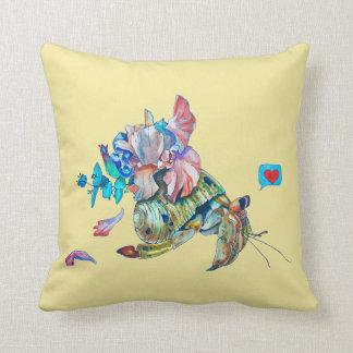 Cancer hermit throw pillow