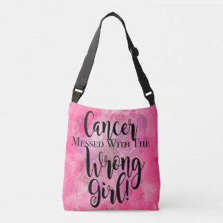 CANCER MESSED WITH THE WRONG GIRL Pink Crossbody Bag