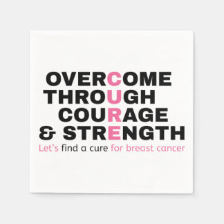 Cancer quote pink typography let's find a cure paper napkins