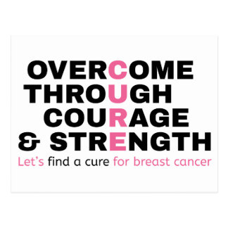 Cancer quote pink typography let's find a cure postcard