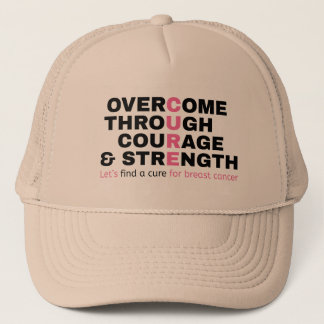 Cancer quote pink typography let's find a cure trucker hat
